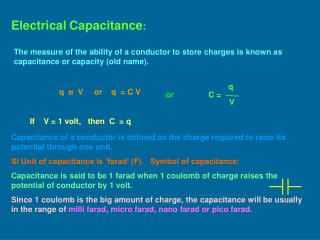 Electrical Capacitance :