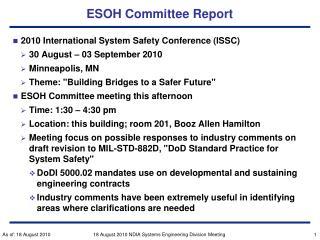 ESOH Committee Report