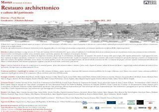 Master internazionale di II livello in Restauro architettonico e cultura del patrimonio