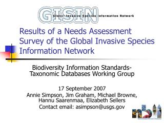 Results of a Needs Assessment Survey of the Global Invasive Species Information Network