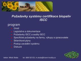 Požadavky systému certifikace biopaliv  ISCC