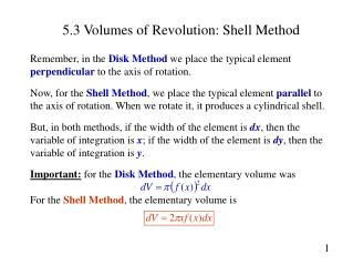 5.3 Volumes of Revolution: Shell Method
