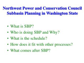 Northwest Power and Conservation Council Subbasin Planning in Washington State