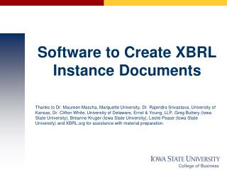 Software to Create XBRL Instance Documents