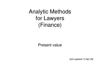 Analytic Methods for Lawyers (Finance)