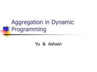 Aggregation in Dynamic Programming