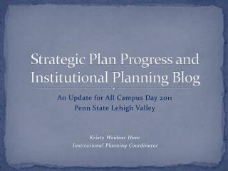 Strategic Plan Progress and Institutional Planning Blog