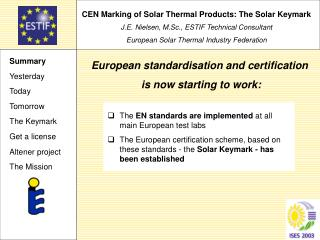 CEN Marking of Solar Thermal Products: The Solar Keymark