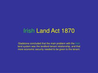 Irish  Land Act 1870