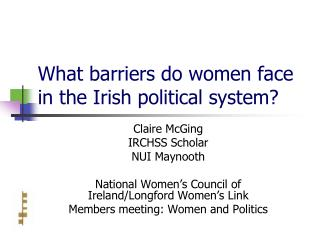 What barriers do women face in the Irish political system?