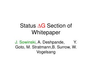 Status  D G  Section of Whitepaper