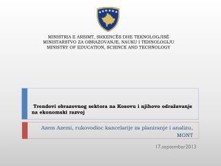 Trendovi obra zovnog sektora na Kosovu i njihovo odražavanje na ekonomski razvoj