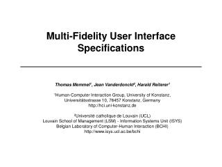 Multi-Fidelity User Interface Specifications