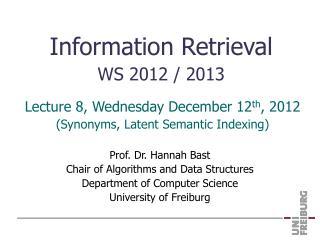 Information Retrieval WS 2012 / 2013