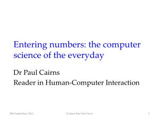 Entering numbers: the computer science of the everyday