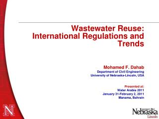 Wastewater Reuse:  International Regulations and Trends