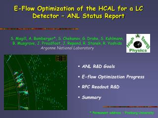 E-Flow Optimization of the HCAL for a LC Detector – ANL Status Report