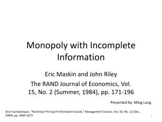 Monopoly with Incomplete Information