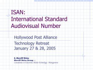 ISAN: International Standard Audiovisual Number