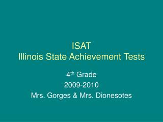 ISAT Illinois State Achievement Tests