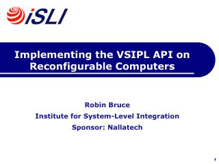 Implementing the VSIPL API on Reconfigurable Computers