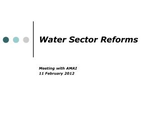 Water Sector Reforms