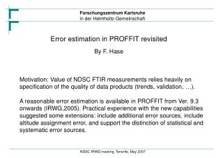 Error estimation in PROFFIT revisited By F. Hase