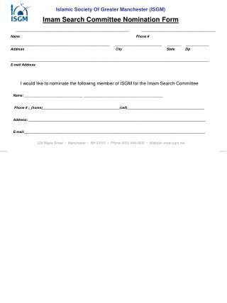 Imam Search Committee Nomination Form