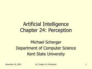 Artificial Intelligence Chapter 24: Perception
