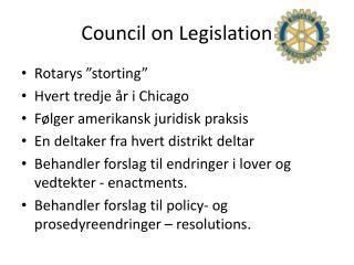 Council on Legislation