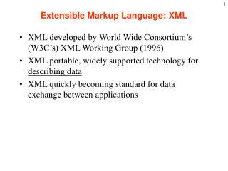 Extensible Markup Language: XML