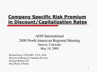 Company Specific Risk Premium in Discount/Capitalization Rates