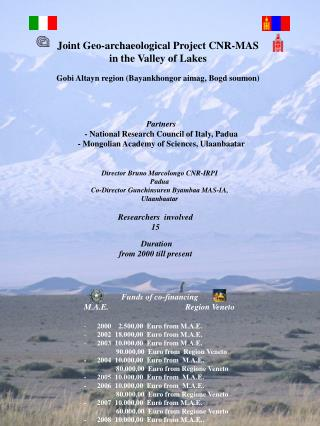 Joint  Geo-archaeological  Project CNR-MAS  in the Valley of Lakes