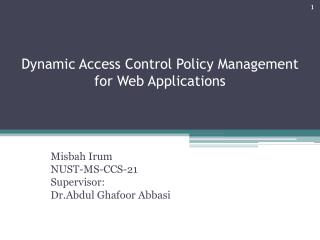 Dynamic Access Control Policy Management for Web Applications