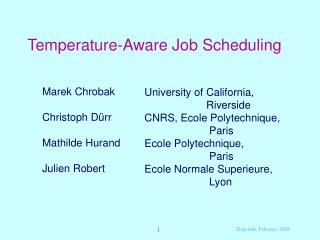 Temperature-Aware Job Scheduling
