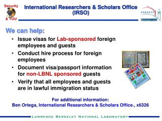 International Researchers & Scholars Office (IRSO)