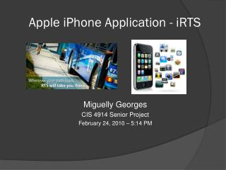 Apple iPhone Application - iRTS