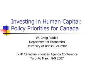 Investing in Human Capital: Policy Priorities for Canada