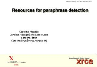 Resources for paraphrase detection