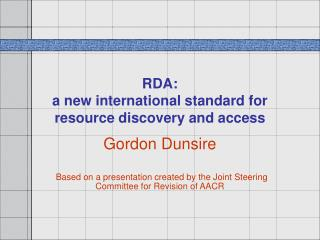 RDA: a new international standard for resource discovery and access