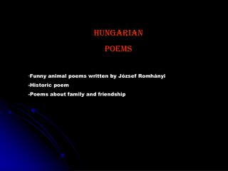 Hungarian Poems  - Funny animal poems written by József Romhányi    -Historic poem