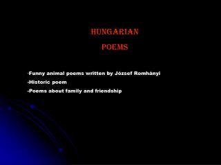 Hungarian Poems  - Funny animal poems written by József Romhányi    -Historic poem