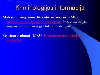 Kriminologijos informacija