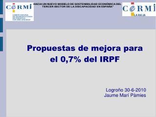 Propuestas de mejora para el 0,7% del IRPF