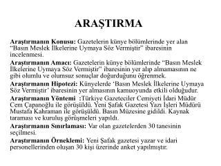 ARAŞTIRMA