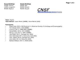 Team:  Virginia Team Advisor:  Jason Rivkin (AIMBE), Kevin Marvel (AAS) Participants: