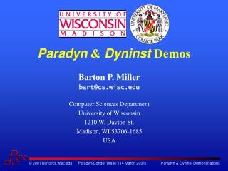 Paradyn &  Dyninst  Demos
