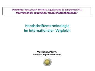 Handschriftenterminologie  im internationalen Vergleich