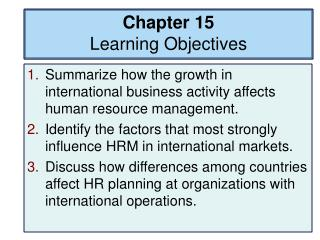 Chapter 15 Learning Objectives