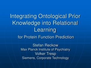 Integrating Ontological Prior Knowledge into Relational Learning for Protein Function Prediction
